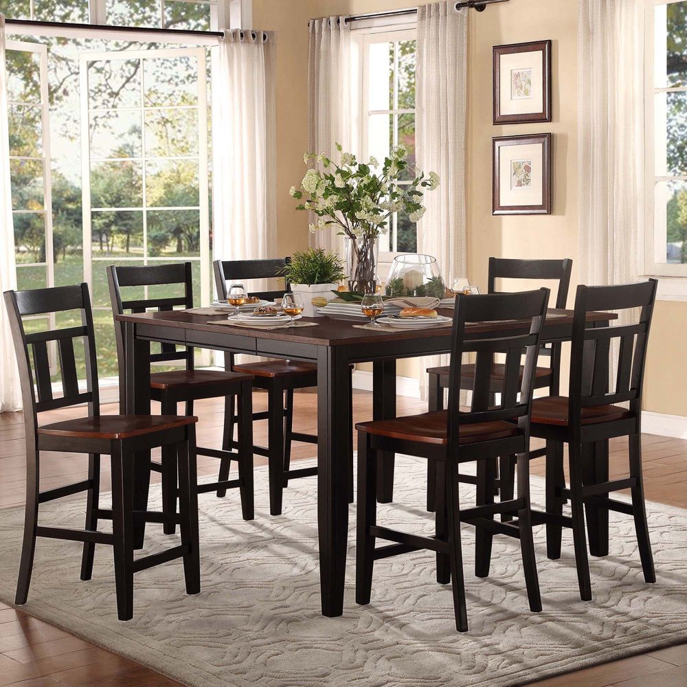 This modern Eli 7 piece dining set features elegant two tone