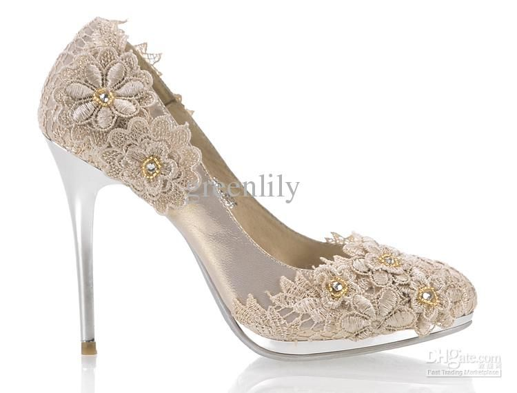 2012 Autumn Wedding Shoes For Bride High Heel With Flowers Rhinestone Waterproof Red Champagne