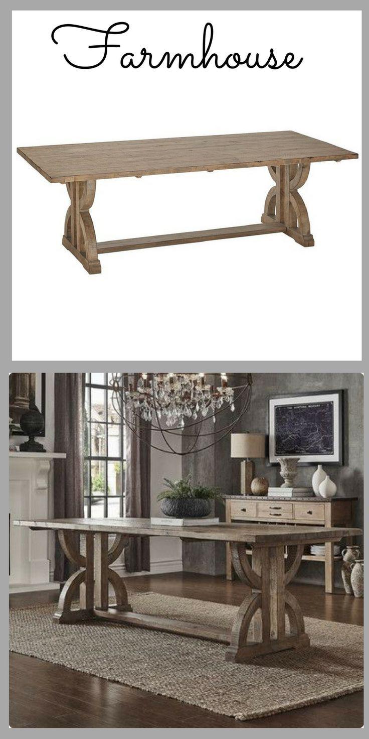 Farmhouse Table Trestle Leg Table Solid Wood Table