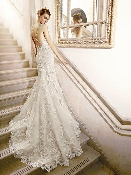 Lace Bridal Gown With Low Crisscross Back Style J6438 Moonlight Collection Wedding Dress Inspiration Wedding Dresses Lace Wedding Dress Low Back