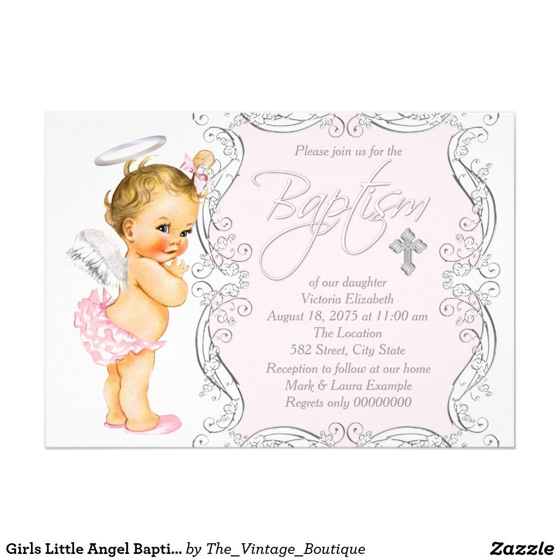 Girls Little Angel Baptism Invitation Baptism Invitations Angel