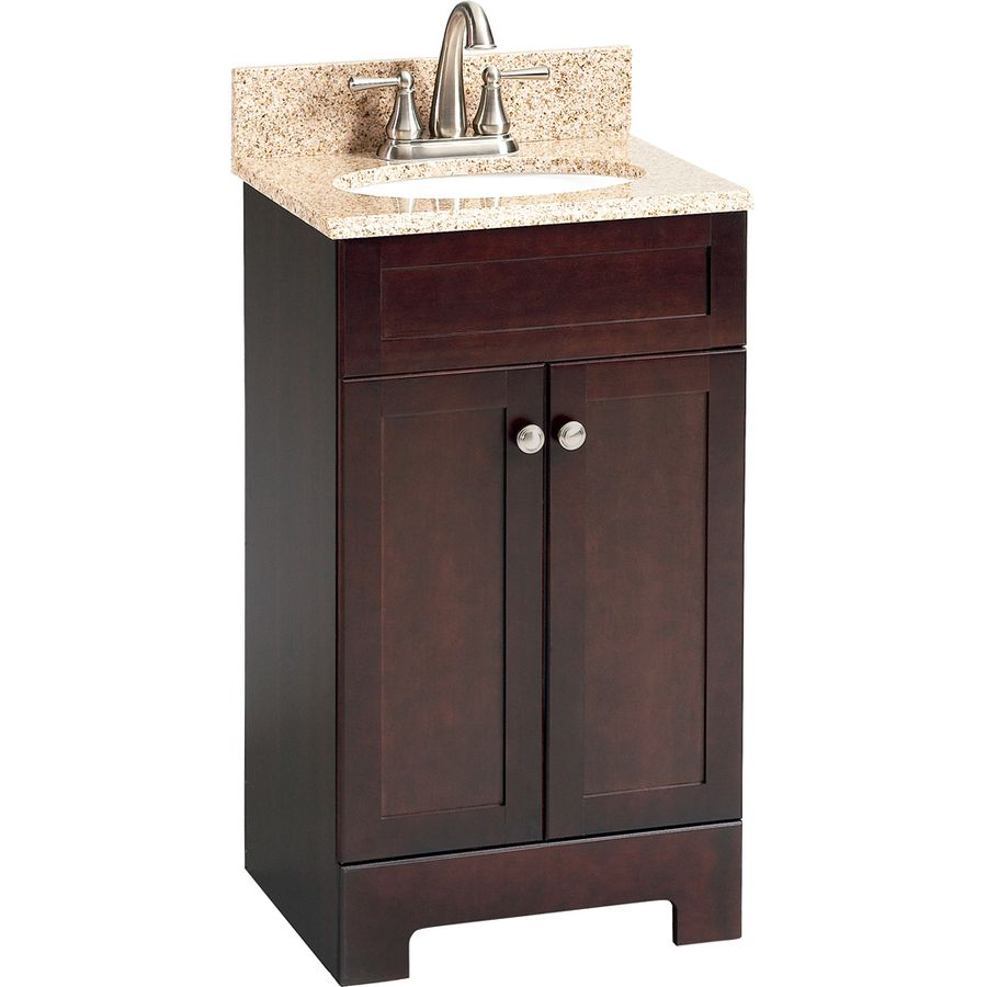 Shop style selections 18 1 2 in espresso longshire single - Lowes single sink bathroom vanity ...