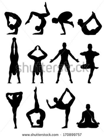 twelve women involved in yoga shadows on a white background - stock vector