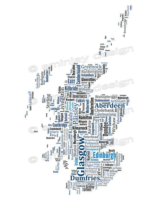 "Scotland Typography Map Art Print Poster 11 x 14"" additional"