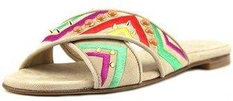 Stuart Weitzman Buttoncandy Open Toe Suede Slides Sandal.