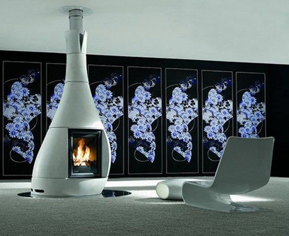 free standing modern gas fireplace cylindrical white furniture