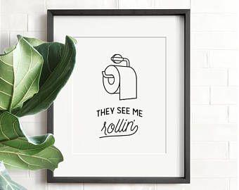 Funny bathroom art, PRINTABLE art, Bathroom wall decor, If