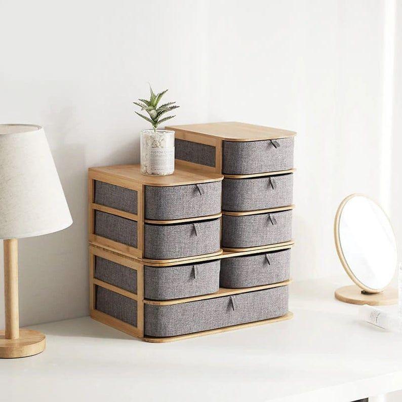 Photo of Makeup Cosmetic Organizer Bamboo Wood Cloth Drawer Jewelry Sundry Storage Box perfume organizer Brush and lipstick holder Cosmetic storage