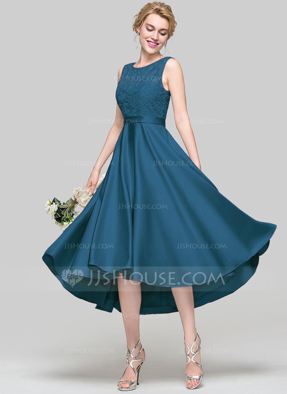 A-Line/Princess Scoop Neck Asymmetrical Satin Bridesmaid Dress ...