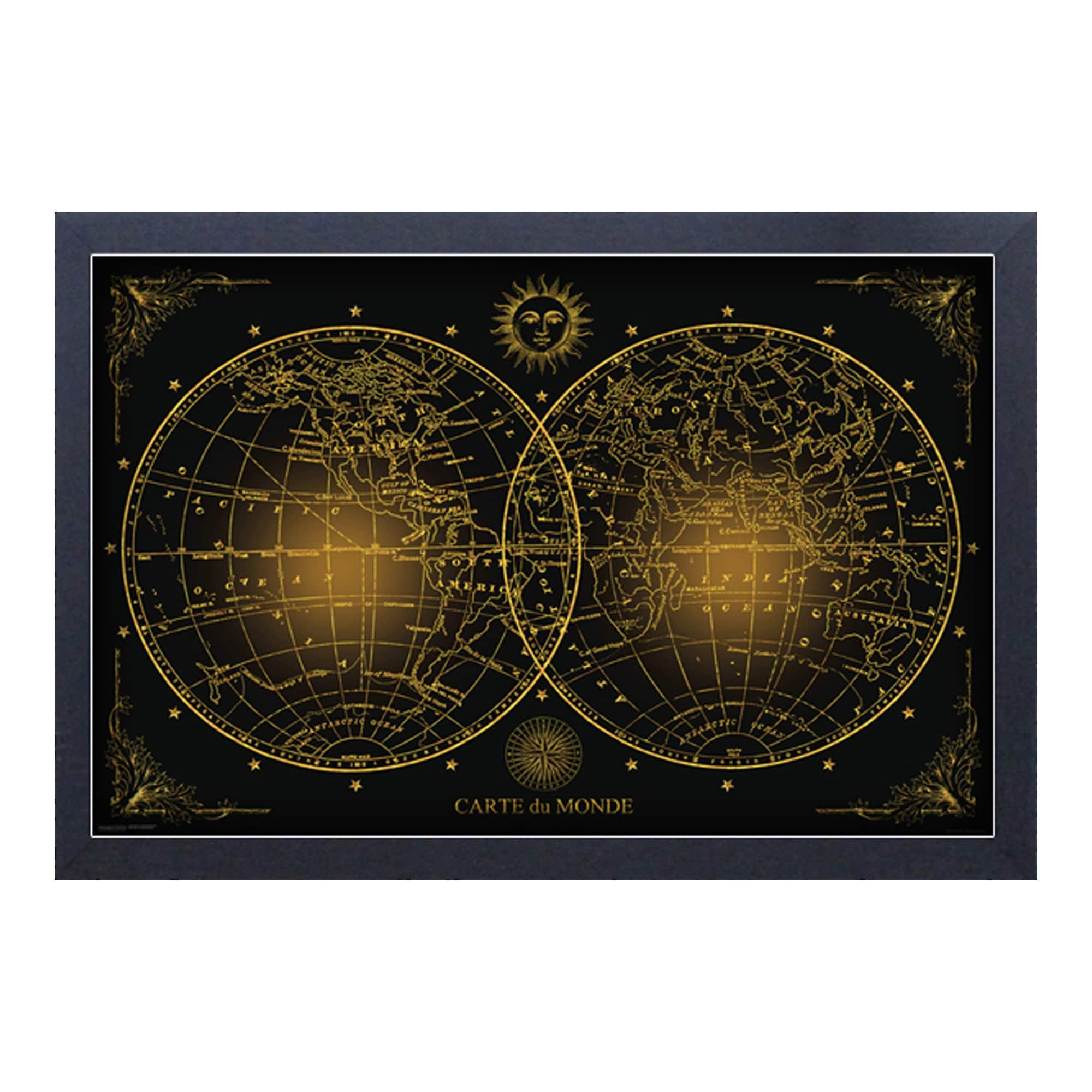 Pyramid america world map carte du monde framed 11x17 print pyramid america world map carte du monde framed 11x17 print sciox Image collections