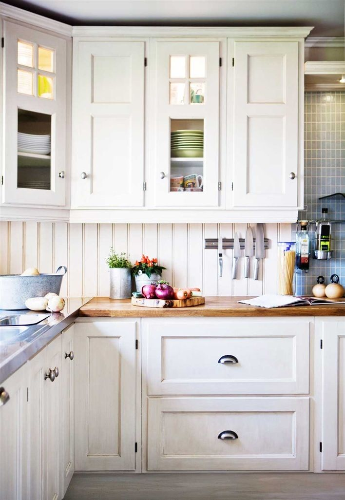 Lovely White Cabinets with butcher Block