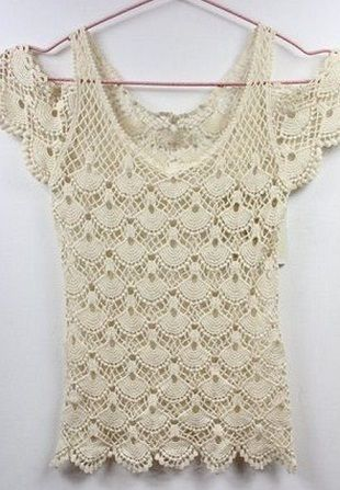 014125414e7cb3 Shell and Open Shoulder Crochet Top