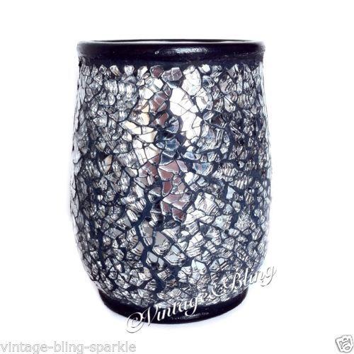 black crackle bathroom accessories. NEW Black Crackle Glass Bathroom Accessories Set Silver  Mosaic