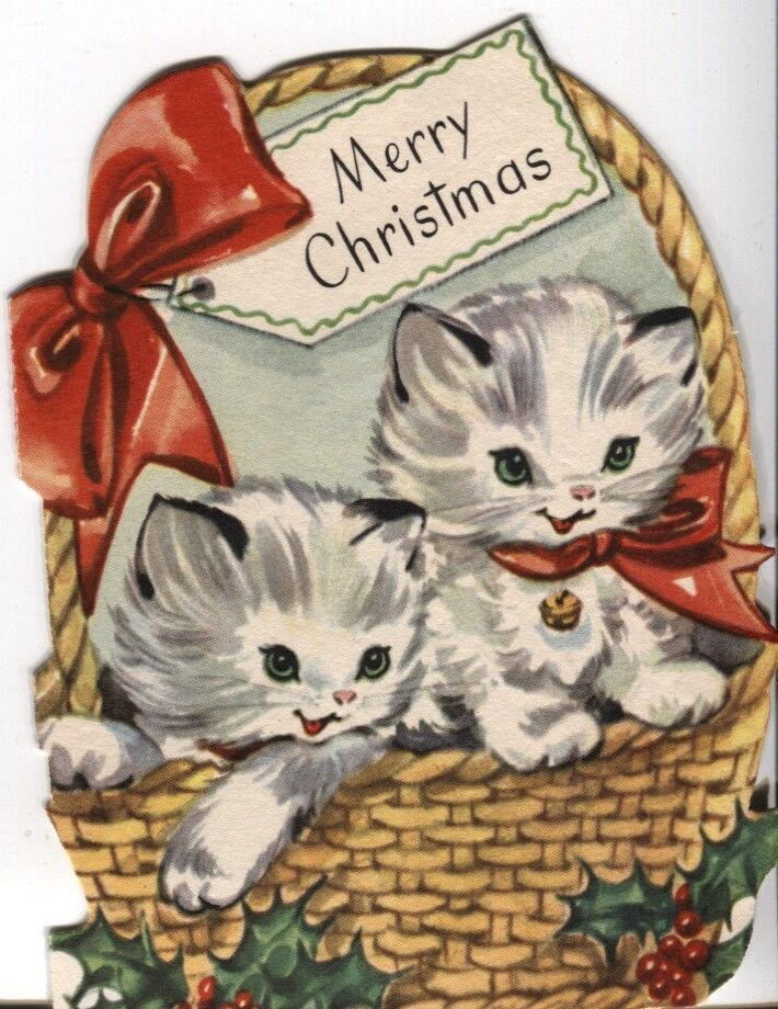 vintage sangamon christmas card die cut kittens in a basket