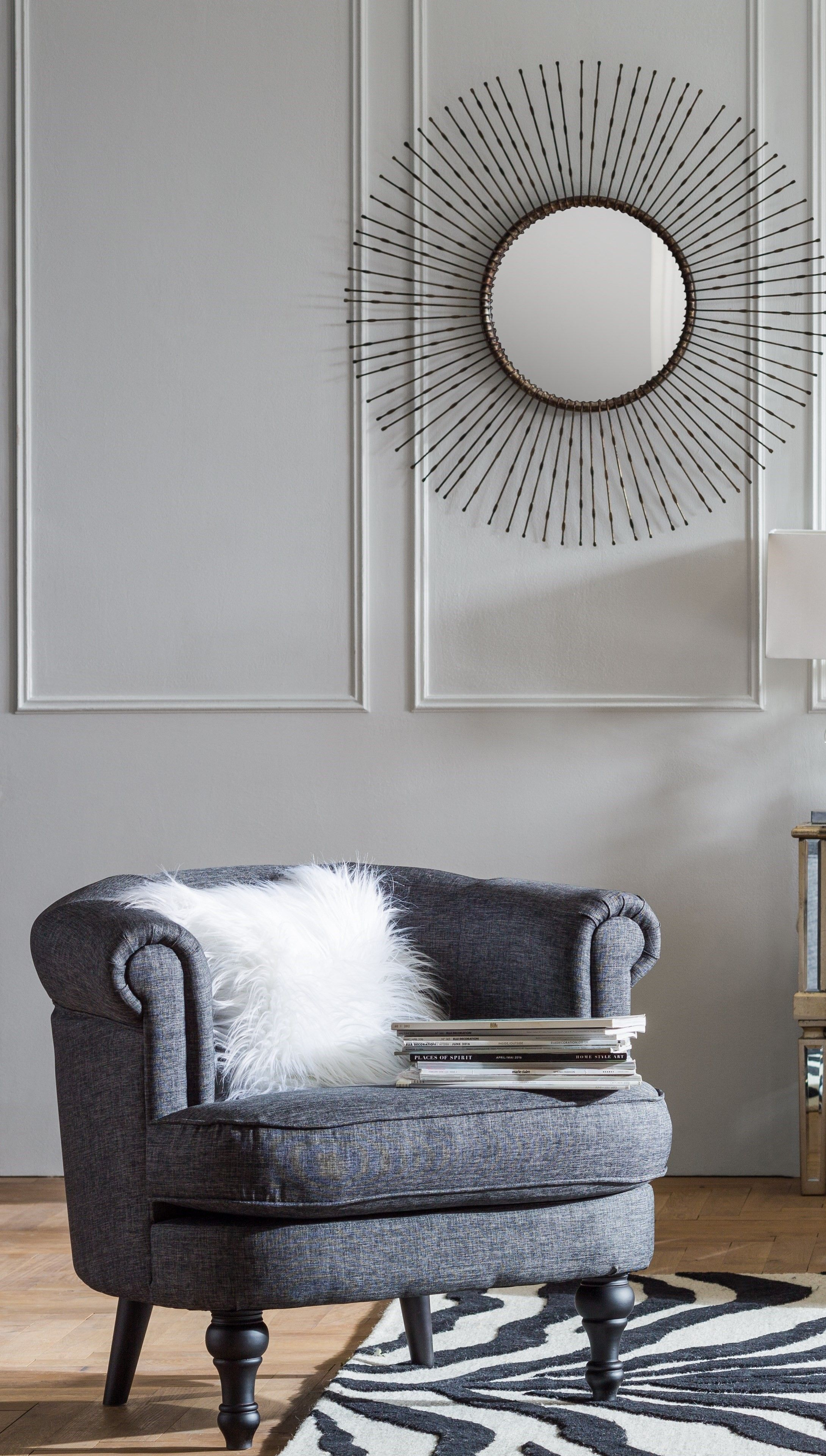 a timeless design this grey finished roll back armchair is perfect