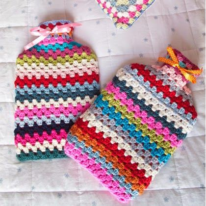 Granny Striped Hot Water Bottle Cosy Free Pattern Crafts