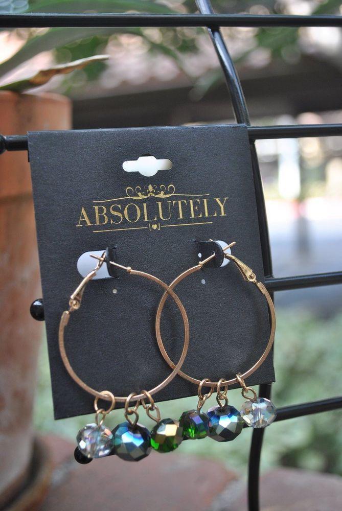 Earrings by Absolutely Gold Tone Hoop style w/crystal droplets Mutli-Color #Absolutely #Hoop, $12