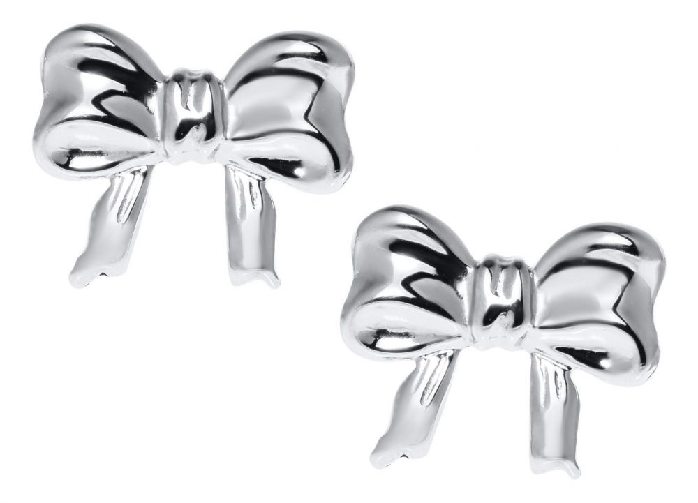 Bow stud baby earrings in sterling silver with safety