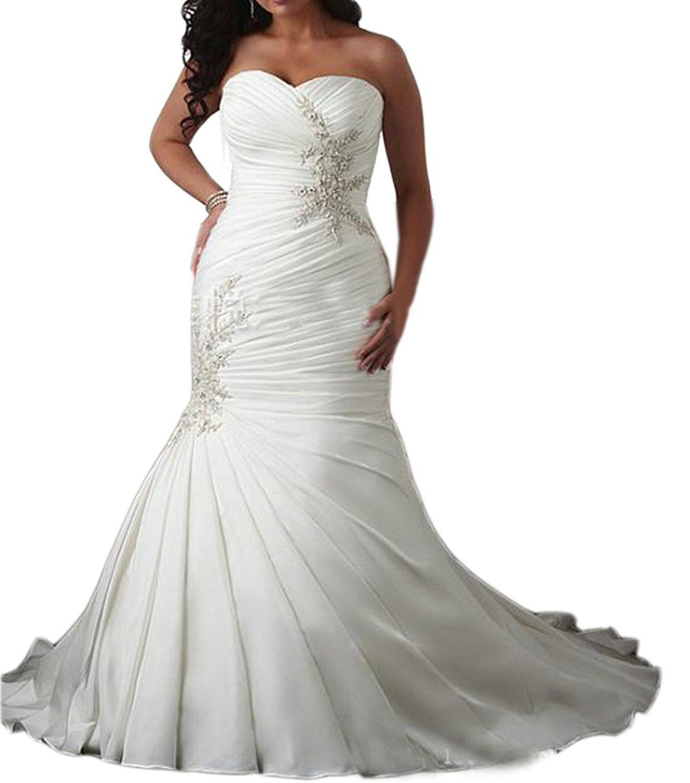 Wedding dress pin up train  Elley Womenus Sweetheart Mermaid Plus Size Ruched Bodice Long