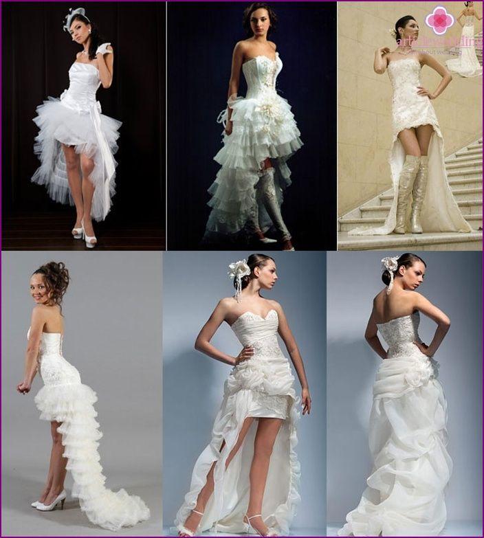 Kurze Hochzeitskleid mit einem Zug (64 Fotos) - schmale, kurvige und ...