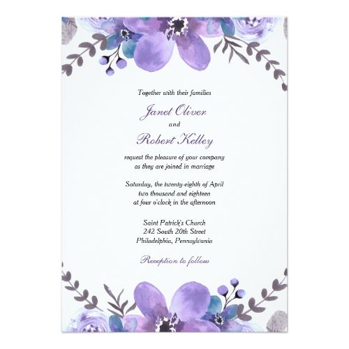 Purple Watercolor Flowers Wedding Invitation With Images