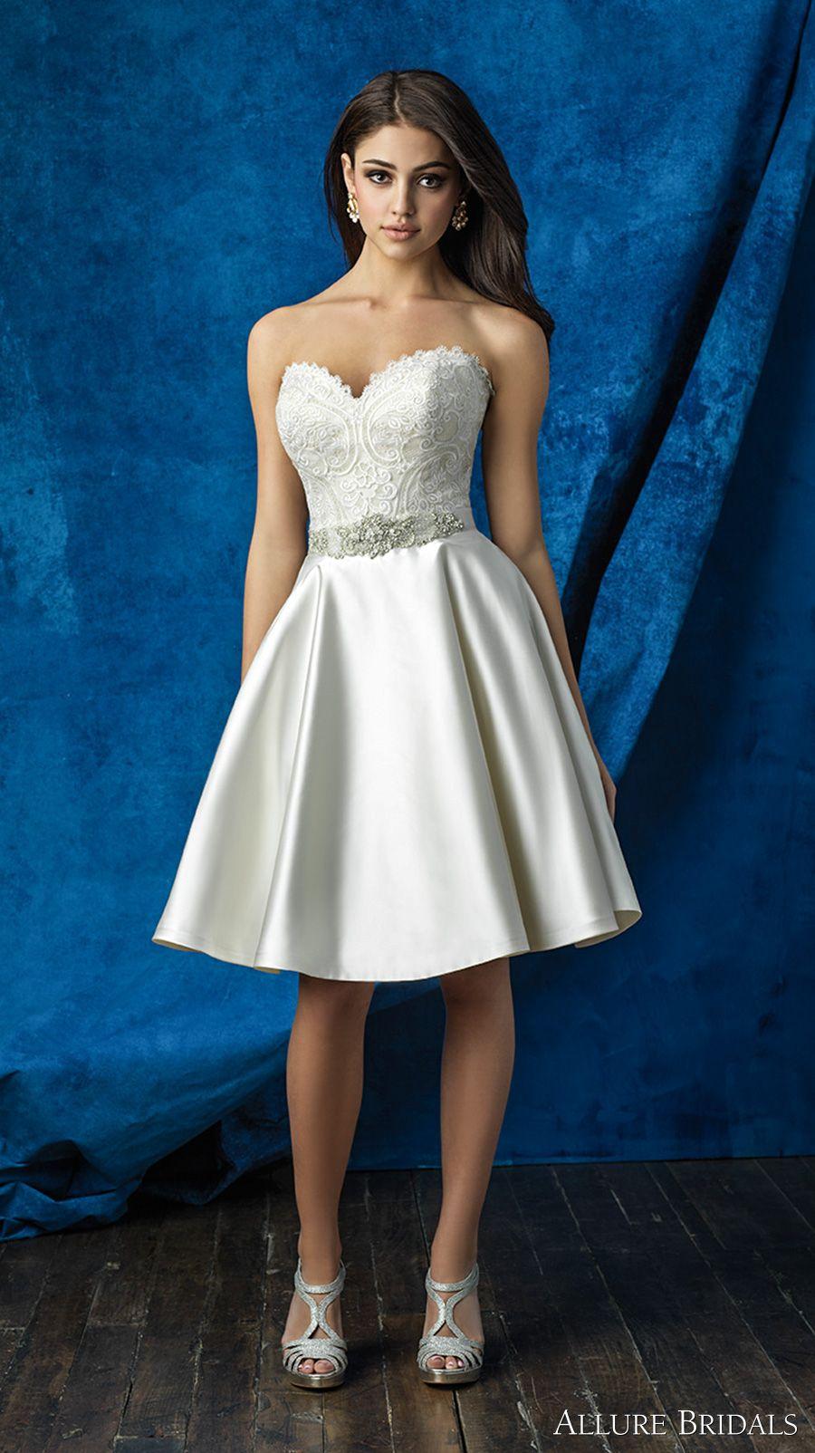 Allure Bridals 2016 Mix Match Strapless Scallop Sweetheart Neckline Heavily Embellished Bodice Satin Short Skirt Knee Length Wedding Dress A2001 Top