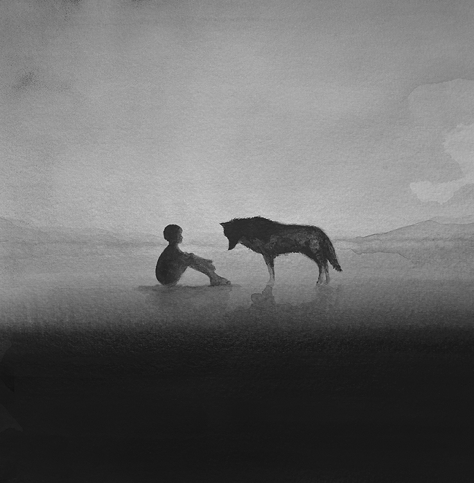 Photo of Striking Black-and-White Watercolors Depict Children and Wild Animals
