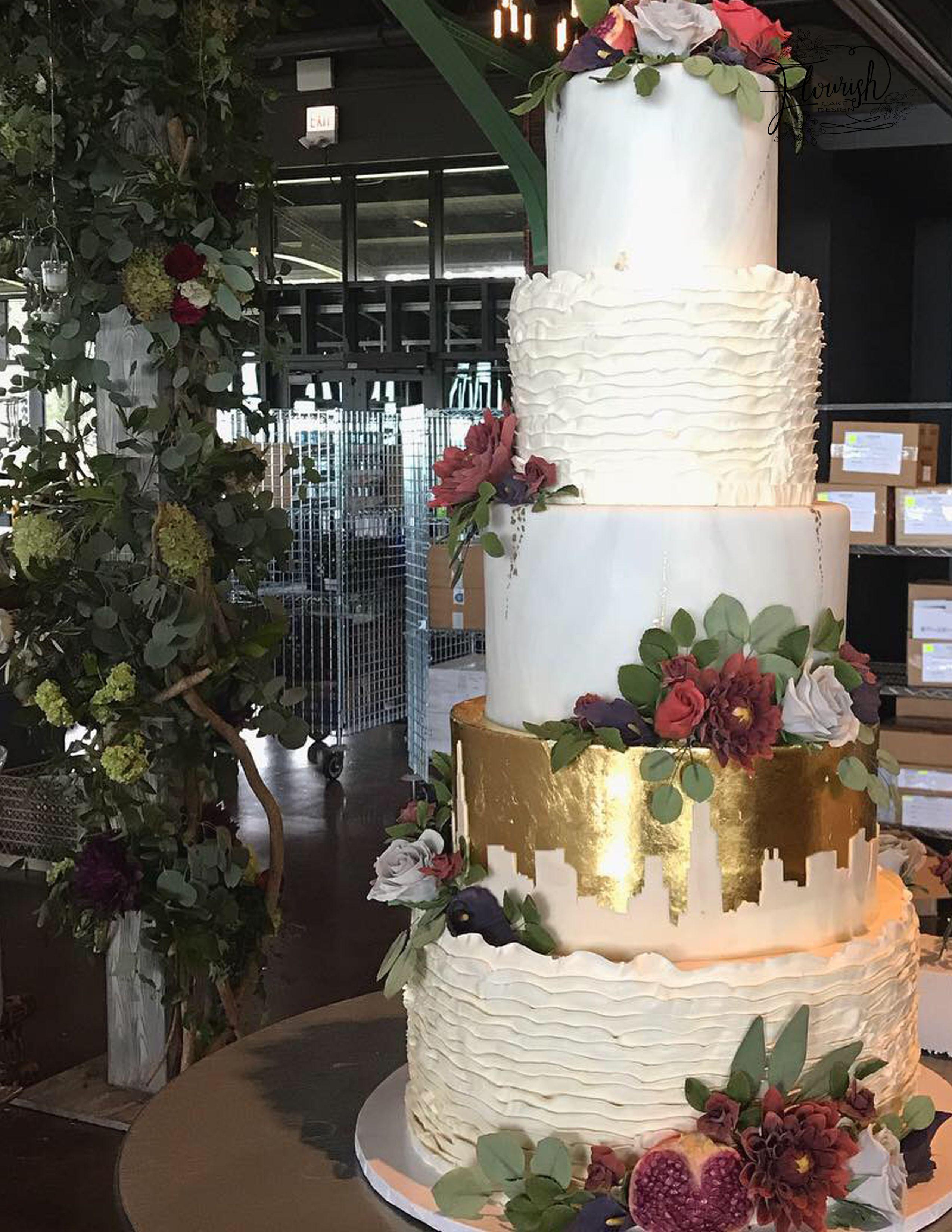 5 tier mixed media cake buttercream ruffles cake