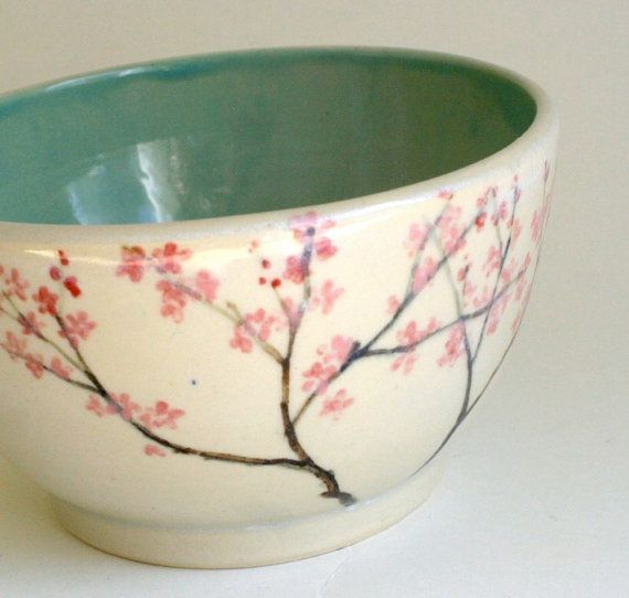 cherry blossoms tree 60 Awesome Pottery Painting Ideas #ceramicpainting