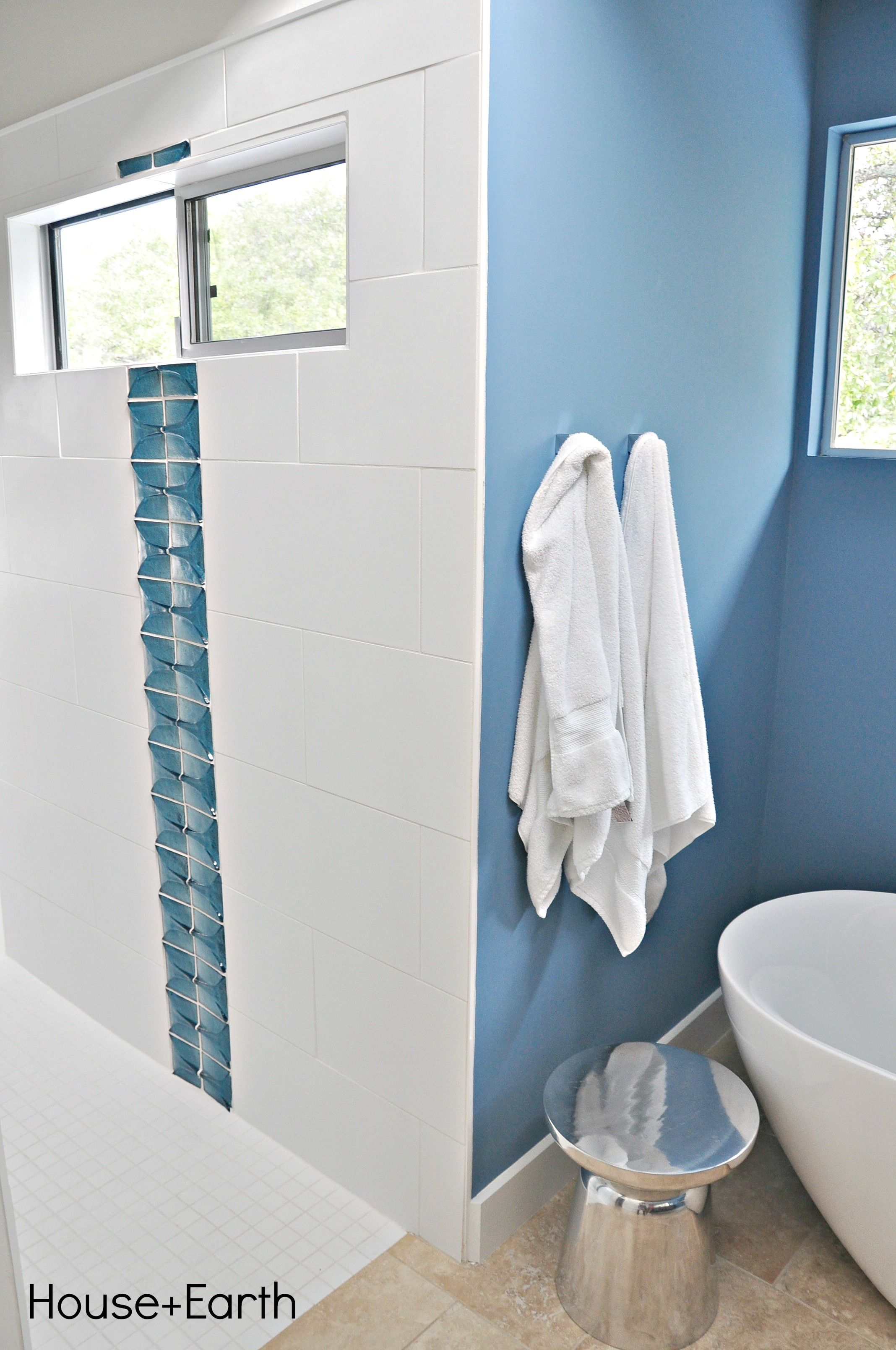 New build bathroom 12x24 white tile shower surround Tango Oceanside Glass Tile in Pacific