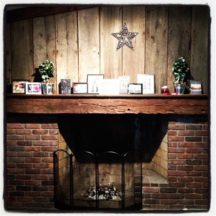fireplace brick and reclaimed barn wood