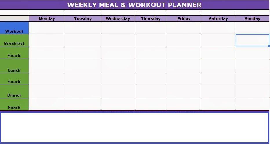 Workout Weekly Calendar Template #workout #workoutplans