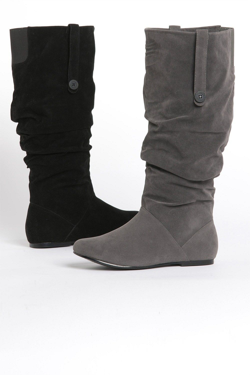 Women's Mid Calf Boots Pull on Flat Slouchy Wide Calf Snow Boots Lace Up Dress Shoes