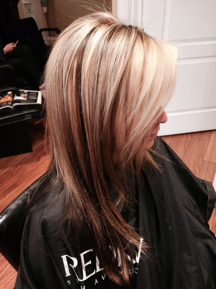 Blonde Highlights And Lowlights With Dark Underneath Beauty Cube