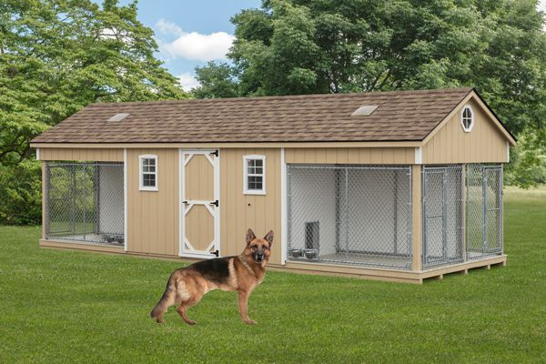 K 9 police 4 dog custom built outdoor kennel house w run for Dog run outdoor kennel house