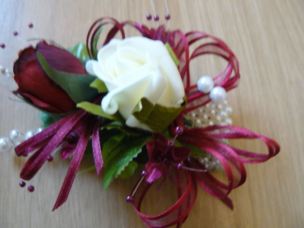Burgundy Wrist Corsage Wedding Flowers Mother Of The Bride Guest