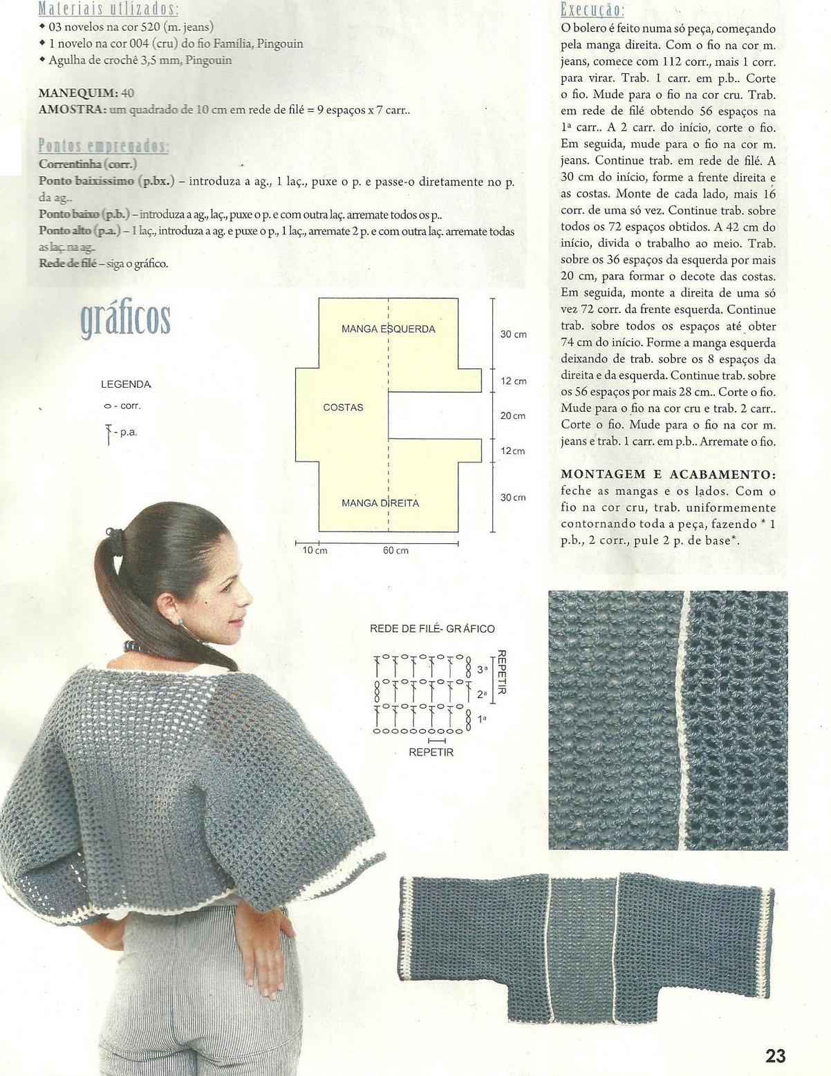 Bolero manga media ancha Patron - Patrones Crochet | Boleros manga ...