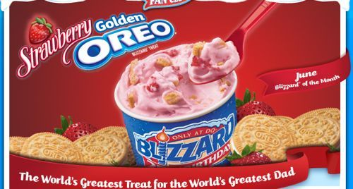 The Strawberry Golden Oreo Blizzard is layered with vanilla soft