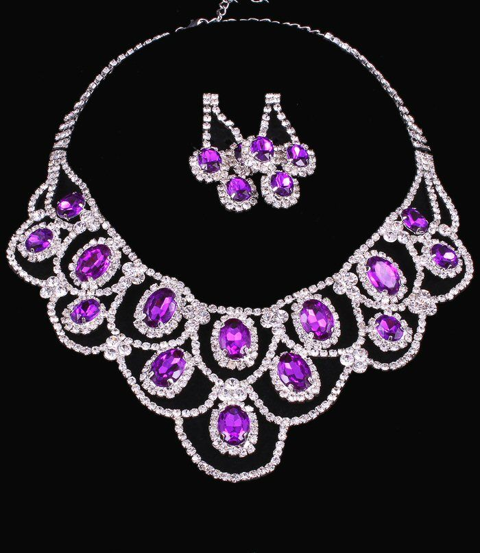 Amethyst Purple Crystal Rhinestone Oval Stone Lace Formal Wedding
