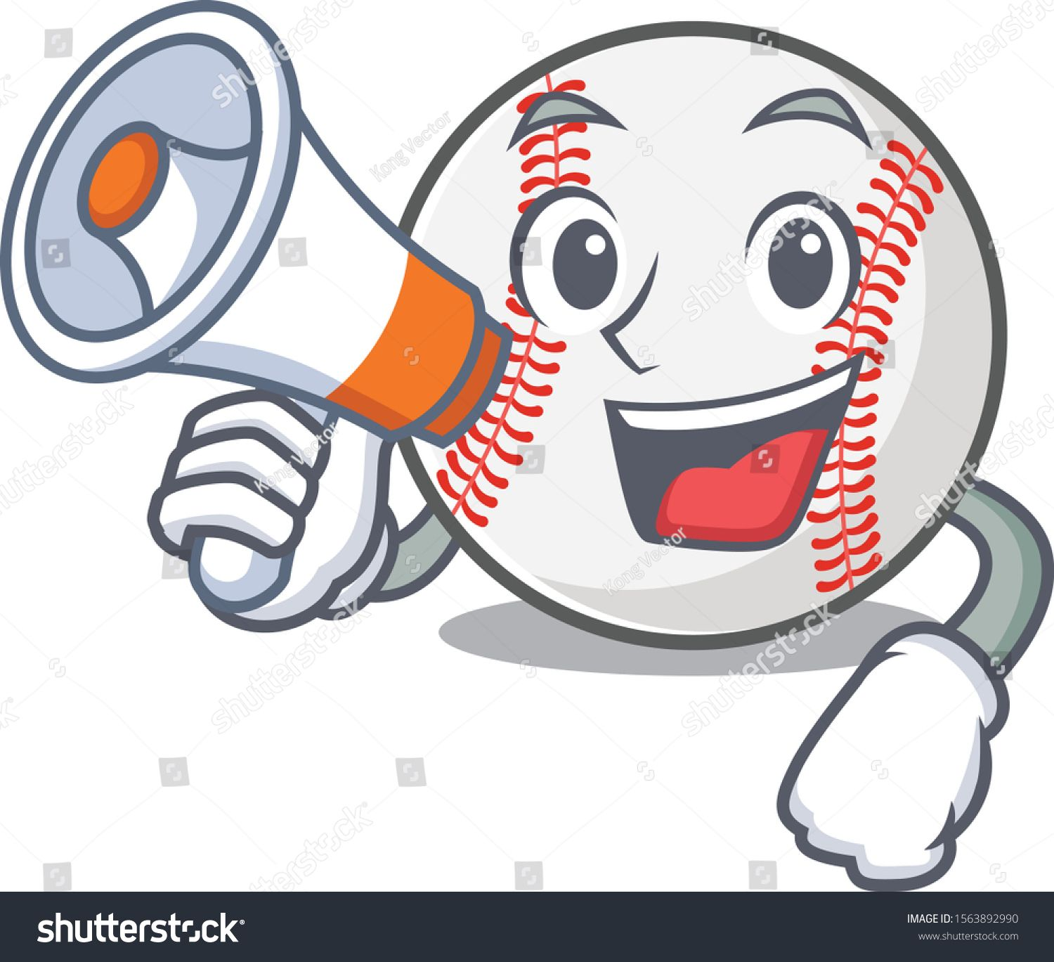 Cartoon Baseball With In A Character With Holding Megaphone Ad Sponsored Baseball Cartoon Character Megaphone Cartoon Character Cartoon Characters