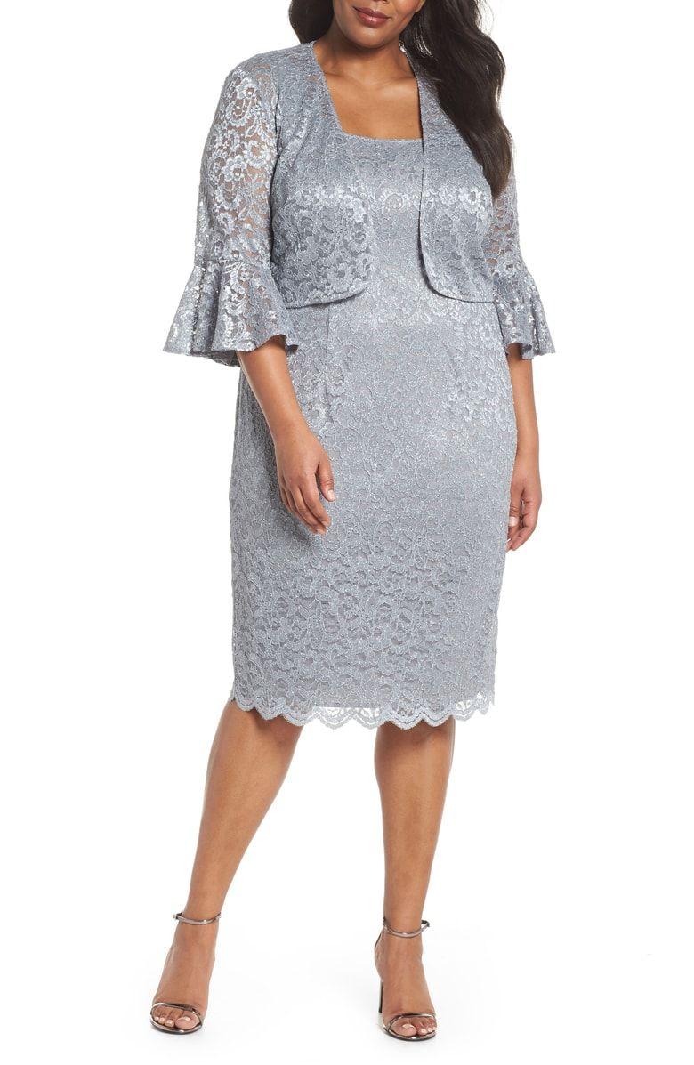 Lace Sheath Dress with Bolero Jacket, Main, color, Silver | Monika ...
