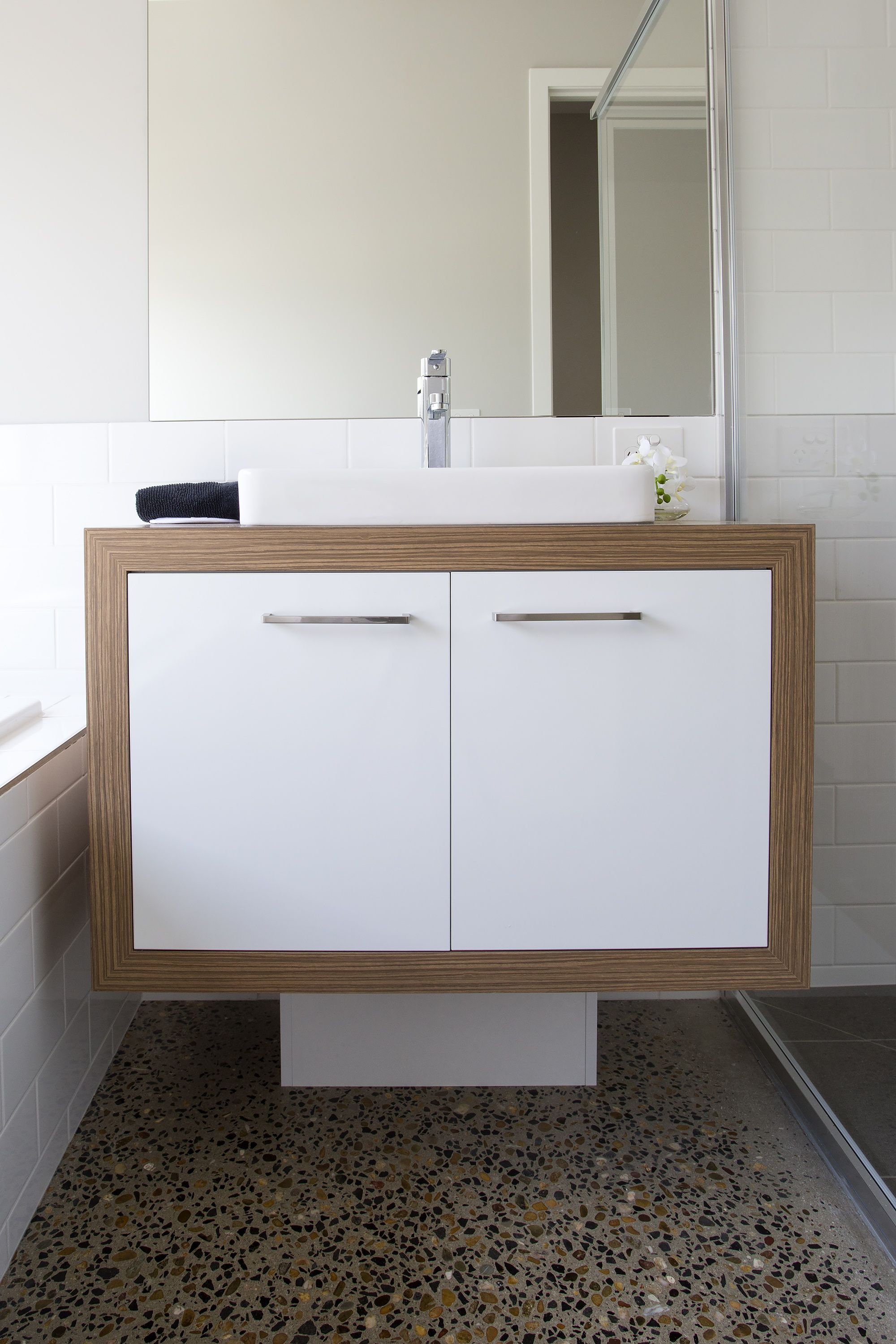 Bathroom Vanity by Bourke\u0027s Kitchens Benchtop and Surround - Zebrano Natural Finish by Laminex Doors and & Bathroom Vanity by Bourke\u0027s Kitchens Benchtop and Surround ... Pezcame.Com
