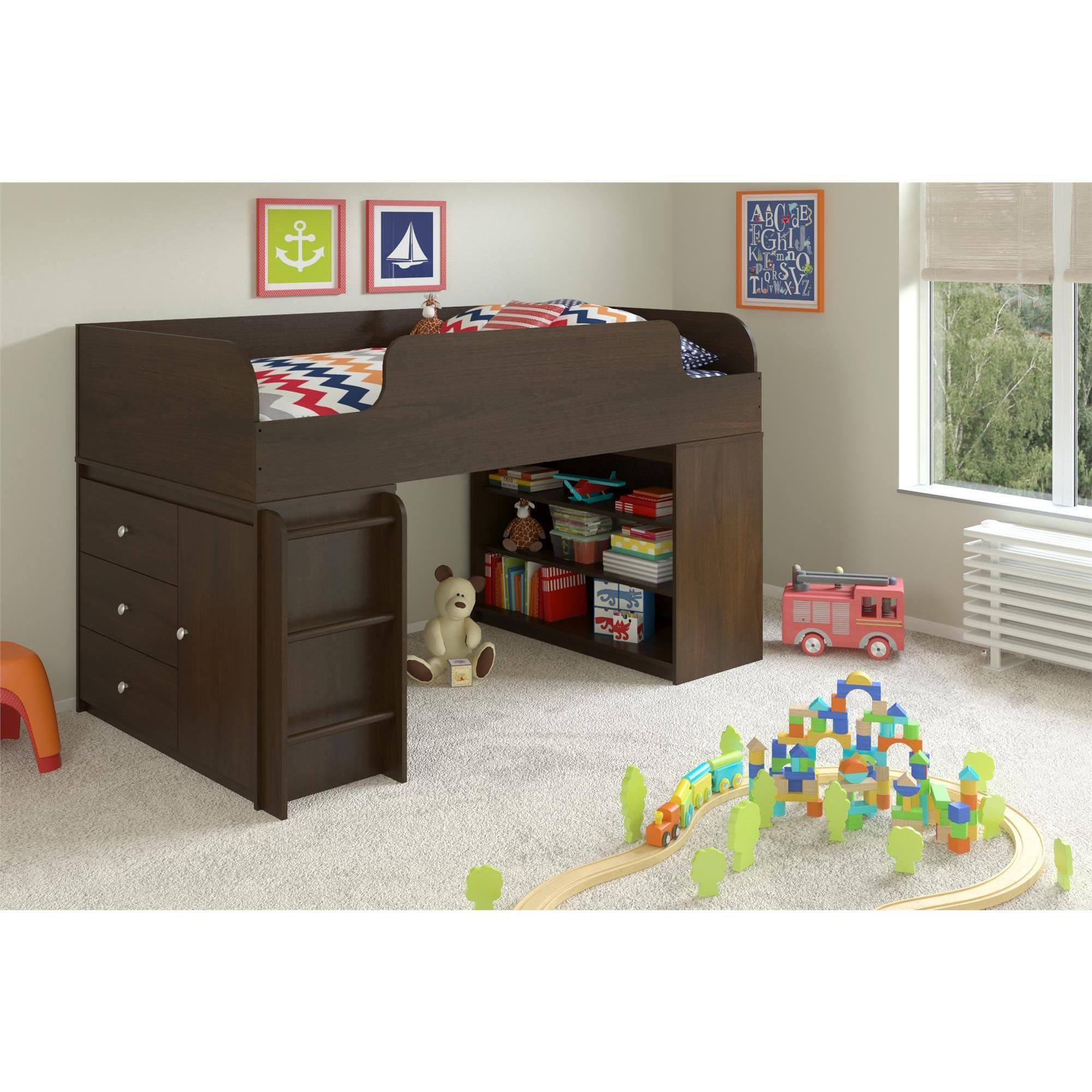 Quality built for years of enjoyment the Elements Loft Bed Bookcase and Storage