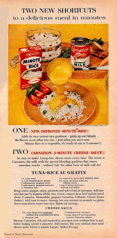 1958 ad for minute rice with recipe