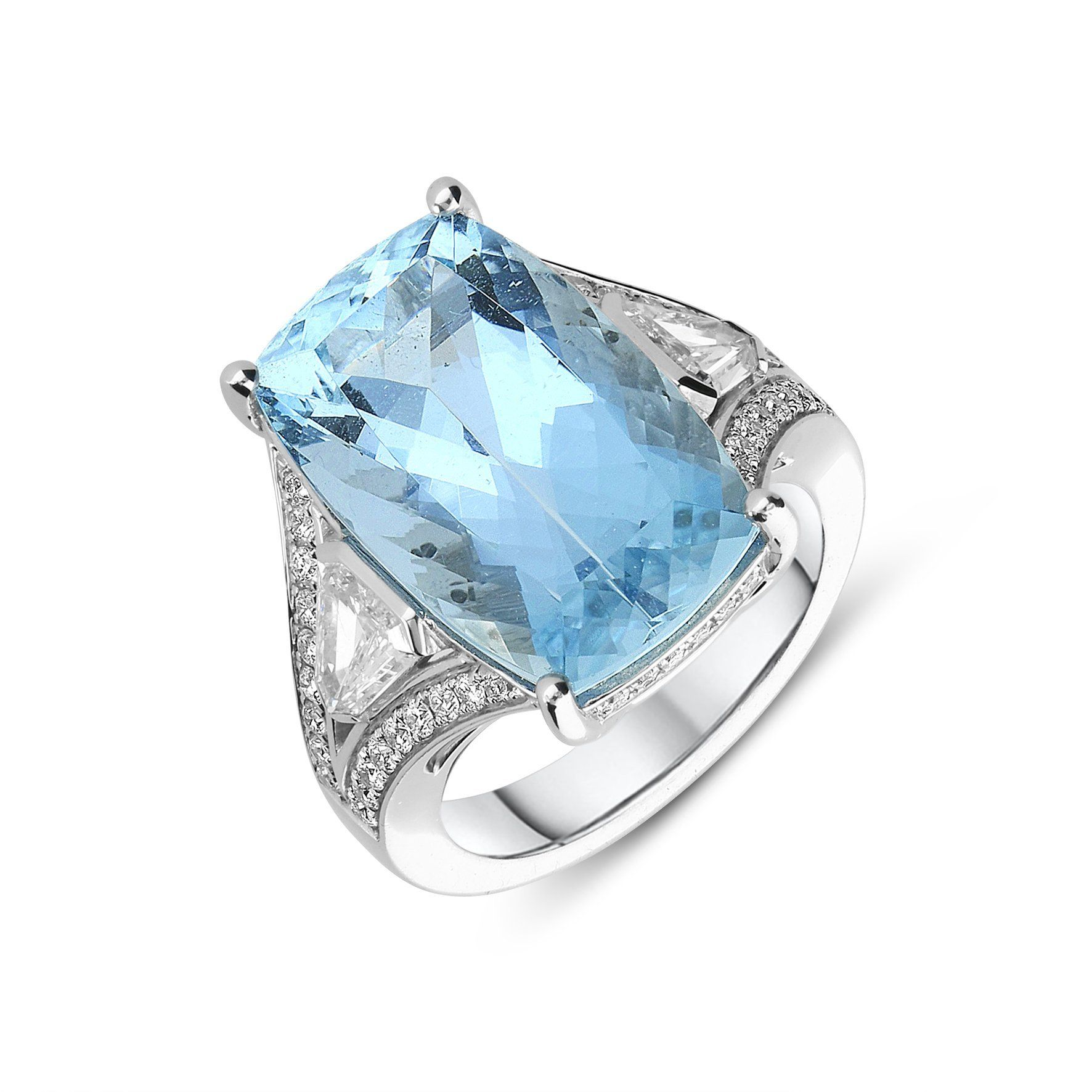 18ct White Gold 11.17ct Aquamarine Diamond Ring in 2020