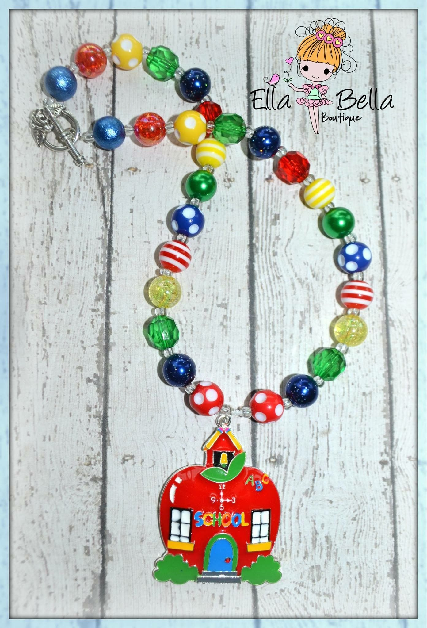 Back 2 school necklace chunky necklace jewerly gumball