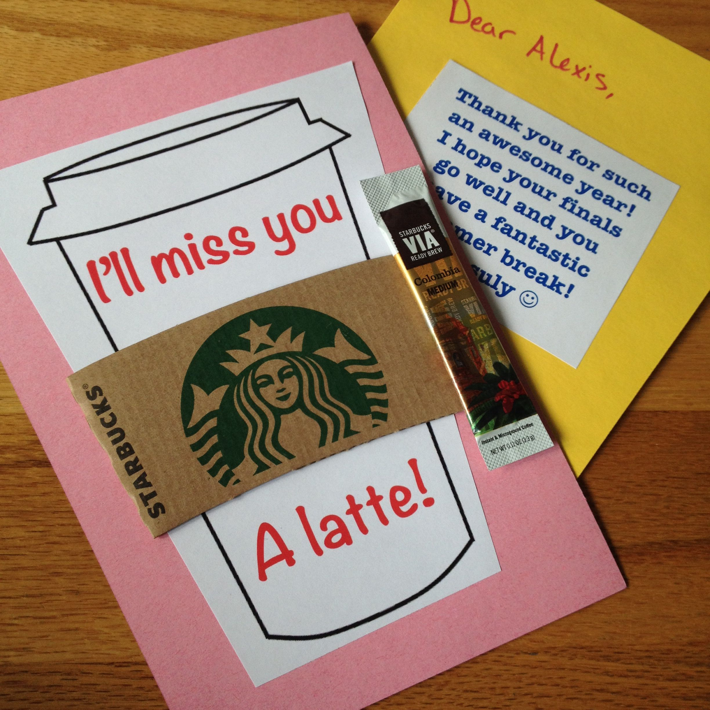 Ill miss you a latte end of the year cards for my