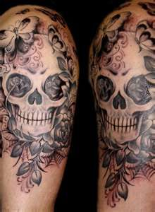 skull tattoo possible chest piece without the butterflies rh pinterest ch Skull and Star Tattoo Designs Sugar Skull Butterfly Tattoo