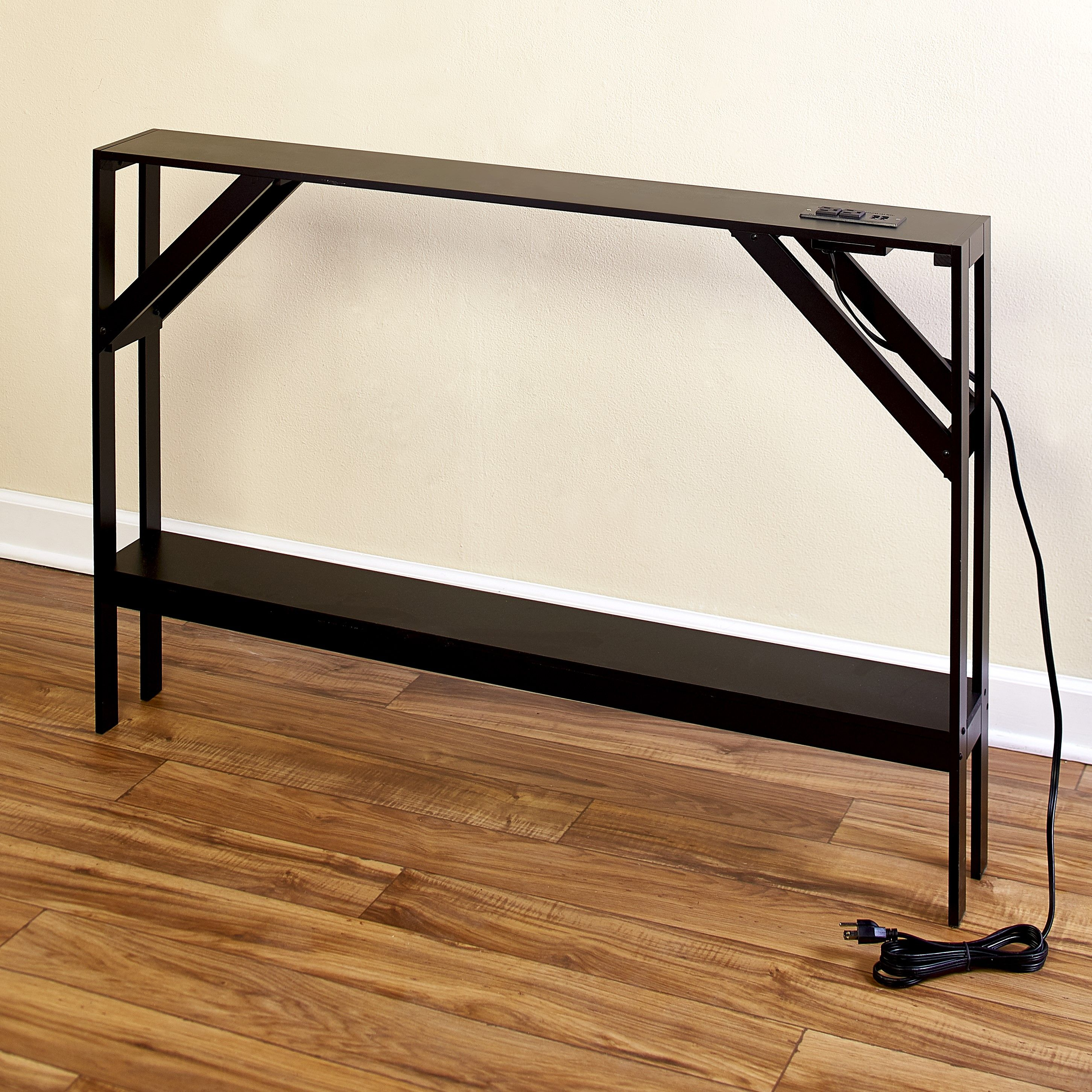 Skinny Sofa Table With Outlet For Phones And Laptops Modern Accent Table Walmart Com In 2020 Modern Accent Tables Behind Sofa Table Sofa Table