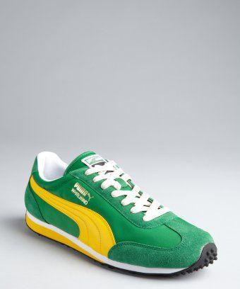 cf8ed887b477 Puma   green and yellow nylon  Whirlwind Classic  striped sneakers   style    321325905